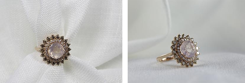 anillo amuleto con piedra de cuarzo rosa