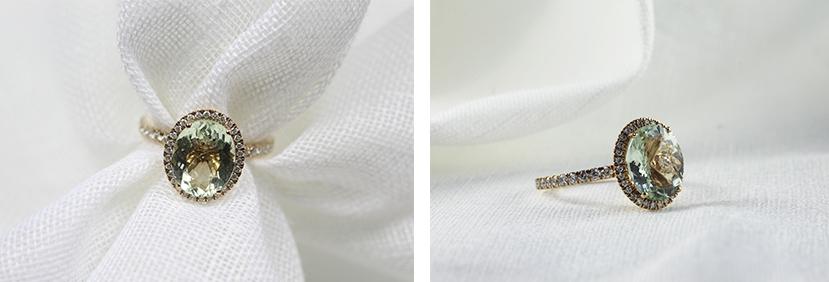 anillo amuleto con piedra de prasiolita